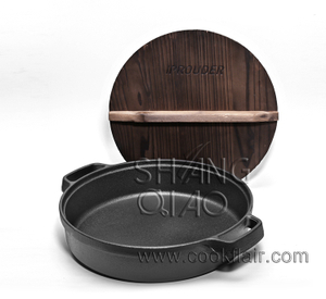 Round Cast Iron Deep Griddle with Double Handles