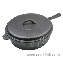 Pre-seasoned Cast Iron Chicken Fryer Pan Sauce Pot with Lid