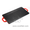 Rectangular Cast Iron Enamel Griddle with Loop Handles