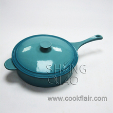 Blue Enameled Cast Iron Flat Bottom Sauce Pot
