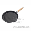 Pre-seasoned Cast Iron Round Grill Pan with Wooden Handle