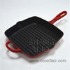 Enameled Cast Iron Square Grill Pan with Helper