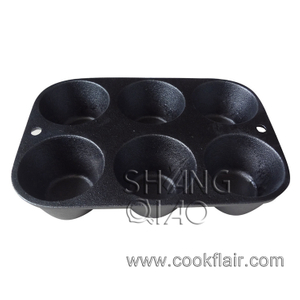 Cast Iron Muffin Mould with 6 Holes