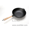 Pre-seasoned Cast Iron Wok With Wooden Handle